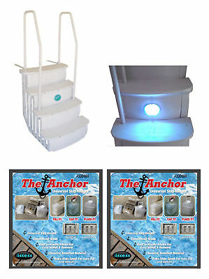Main Access iStep Above Ground Pool Entry Steps Ladder w/ LED Light + 2 Weights