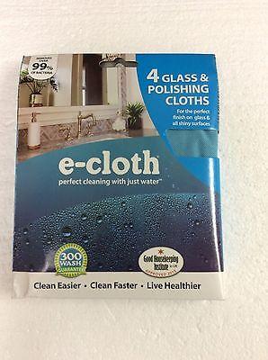 E-Cloth Cleaning Glass & Polishing Cloths 4 Pack e cloth Green Clean New