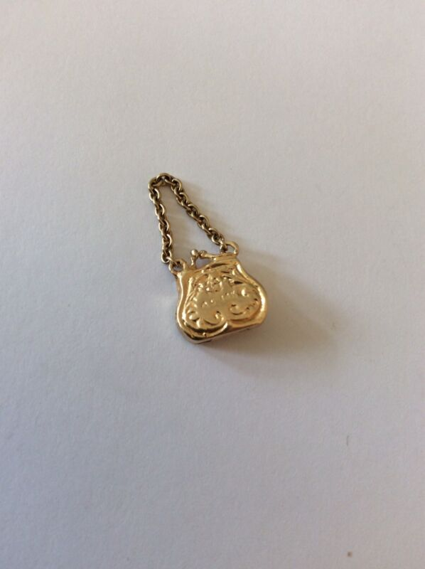 VINTAGE 14K GOLD A.C.PURSE BAG  3D CHARM OPEN MOVEABLE 1.9 Gr