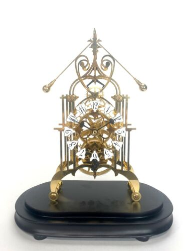 24K English Style Double Compound Pendulum 8 Day Open Work Skeleton Clock