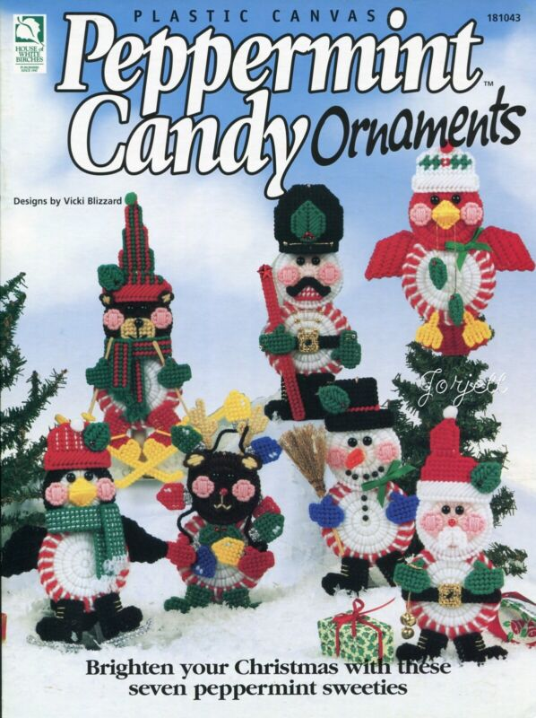 Peppermint Candy Ornaments, Holiday Characters plastic canvas pattern book NEW