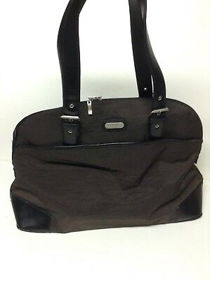 Baggallini Tote (Baggallini Carry All Tote Taupe Gray Nylon Carry On Travel Bag Trolly Sleeve )