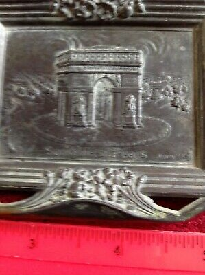 Vintage Art Deco Bronze French Ash Tray  Arc de Triomphe Signed Rullony