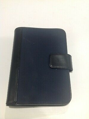 Compactportable 78 Rings Blue Fabric Sim. Leather Day-runner Plannerbinder