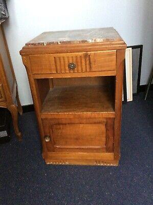 Table de chevet ancienne en bois, dessus marbre 41 x 35 x 70 cm très bon état
