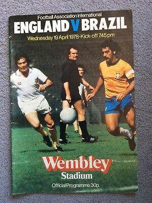 England vs Brazil football programme 19 May 1978 Wembley friendly international