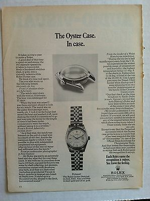 1960's ROLEX OYSTER CASE DATEJUST ORIGINAL ADVERTISING WATCH AD