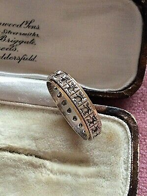 1940s Jewelry Styles and History Band Ring Sterling Silver & 9CT Gold  Stackable  Original 1940s  Size N (1538J) $55.40 AT vintagedancer.com