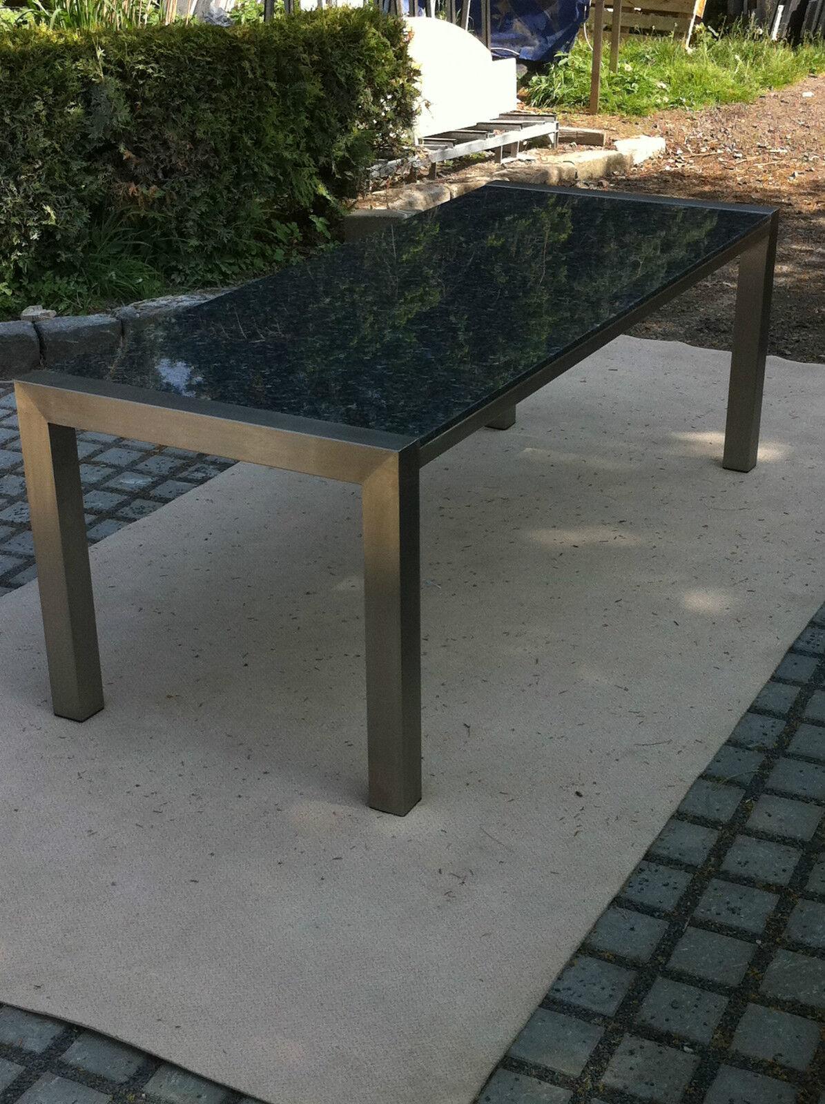 gartentisch outdoor tisch esstisch k chentisch naturstein steinplatte edelstahl eur. Black Bedroom Furniture Sets. Home Design Ideas