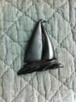 Pewter-type sailboat pin