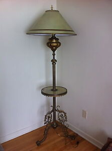 Antique Tall Free Standing Lamp with Round Table