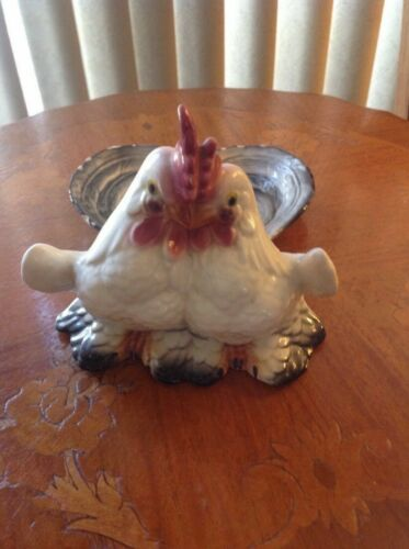 Vintage Rooster Ceramic Double Spoon Rest / Holder