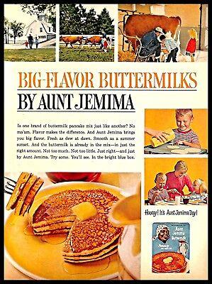 1964 Aunt Jemima Buttermilk Pancake Mix Vintage PRINT AD Breakfast Kids Family