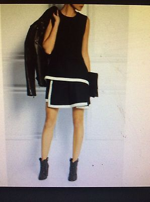 McQ by Alexander McQueen black wool w/white trim pleats at hem dress