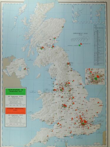 VINTAGE LARGE MAP of BRITAIN NEWSPAPERS & PERIODICALS PRINTING EXPORTS IMPORTS
