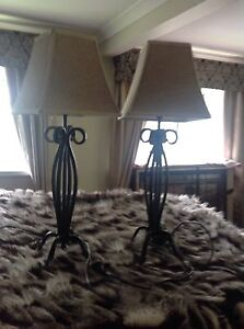Wrought Iron black bedside or coffee table light bases and shades. Chermside West Brisbane North East Preview