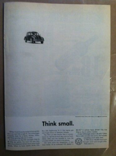 1960 VOLKSWAGEN BUG CLASSIC THINK SMALL ORIGINAL ADVERTISING AD - VERY RARE