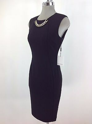 Calvin Klein Nwt Contemporary Black Dress Gold Chain Design Size 4 8 10 14
