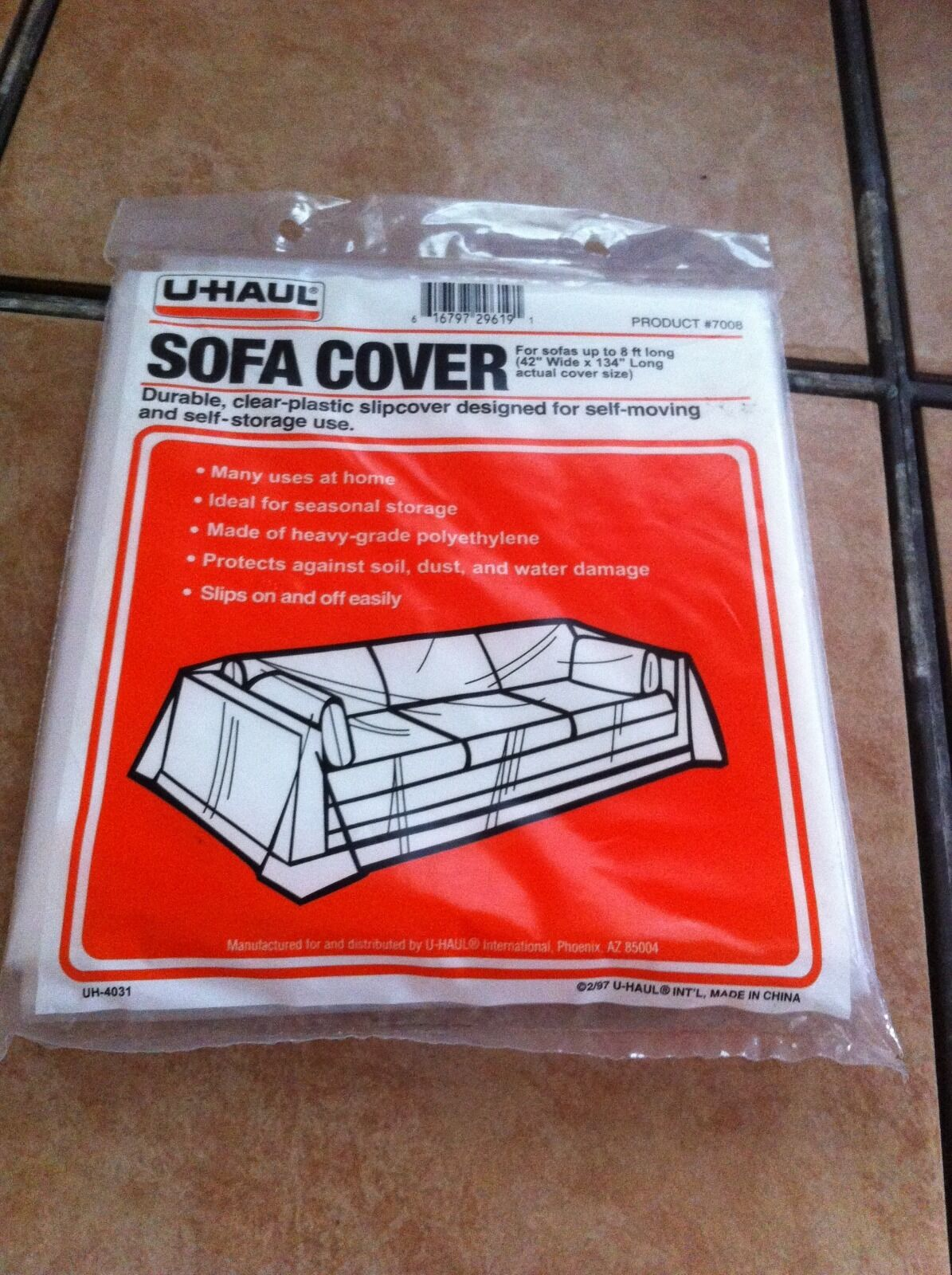 Durable Clear Plastic Sofa Cover for Sofas up to 8ft Long 42