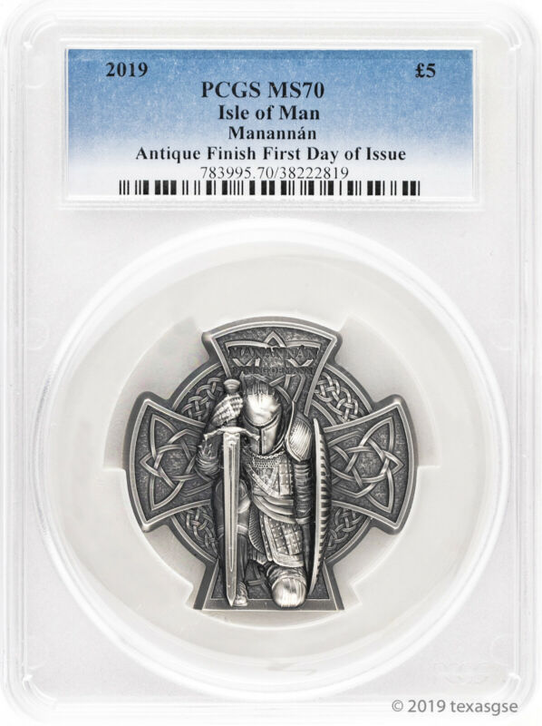 2019 £5 Isle of Man First King of Mann 3 oz Antique Silver Coin PCGS MS70 FDI