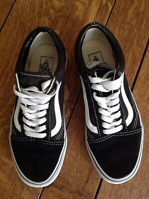 'VANS Off The Wall' Black/white Old Skool Shoes, Low Top, UK6, EU39, Used