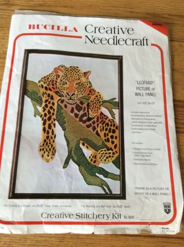 Vintage Bucilla Leopard Hanging From Tree Limb Crewel Embroidery Wall Art