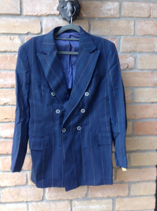 NOS 60s MOD Double Breasted Jacket Sz 36R Blue Pinstripe DAMAGE Fab 4 Hipster