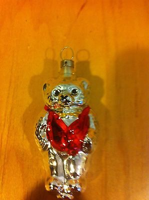 VINTAGE GLASS TEDDY BEAR CHRISTMAS ORNAMENT ~L-80 *
