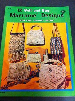 70's Vintage Belt & Bag Macrame 12 Designs Instruction Pattern Craft Book