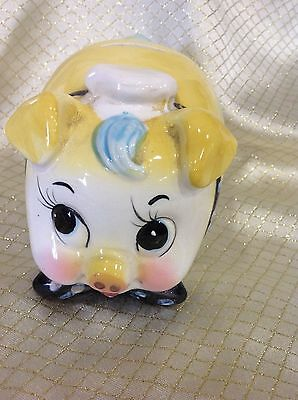 Vintage Ceramic Pig Piggy Bank Paint Glaze Westpac Japan