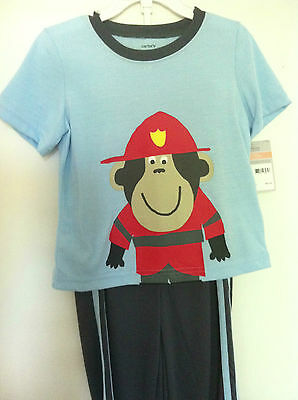 Carter's 3 pc Fireman Pajamas Shirt~Shorts~Pants Blue/Gray/Red Size 2T NWT