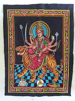 DURGA Painting Fabric Tapestry MATA KALI God Hindu India Sequins free Shipping