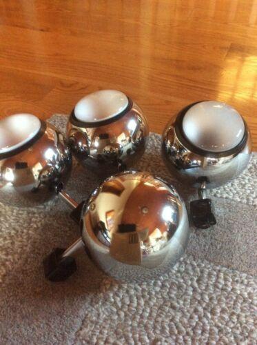 Four polished chrome eyeball orb sphere track lights spotlights vintage working