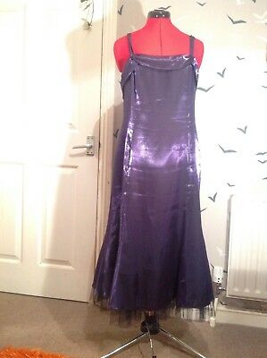 Chic purple satin 20s art Deco look evening party ballgown Minuet dress 14 VGC