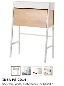 WHITE IKEA SECRETARY DESK
