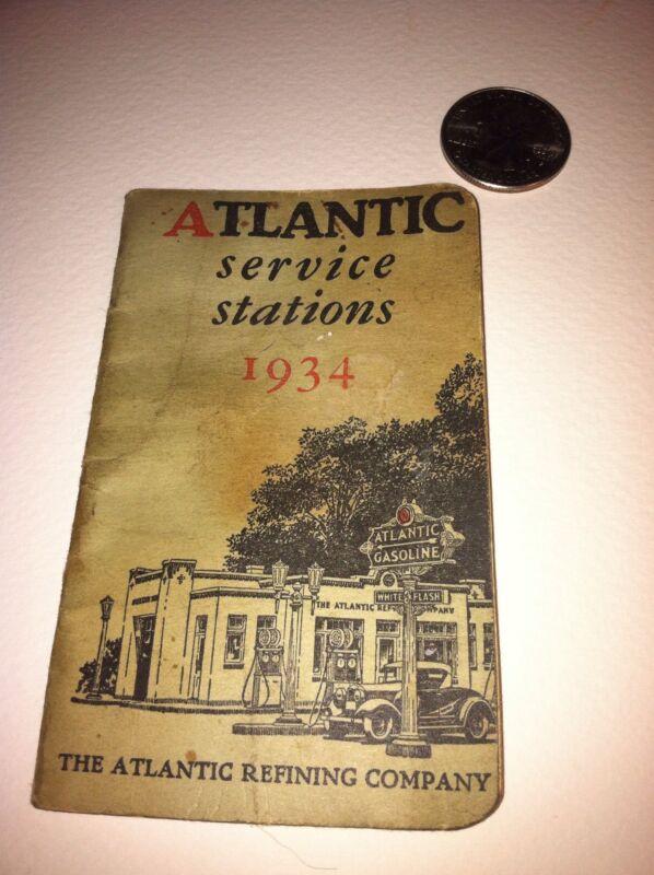 "Rare 1934 Atlantic Service Stations Locator""Pocket Guide"" 13 States"