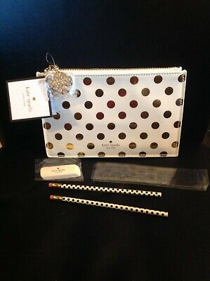 New with Tags Kate Spade pencil/cosmetic zip bag white/back polka dots