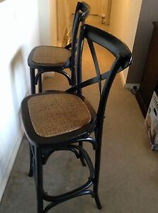 2 Country cross-back bar stool in distressed black Waterloo Inner Sydney Preview