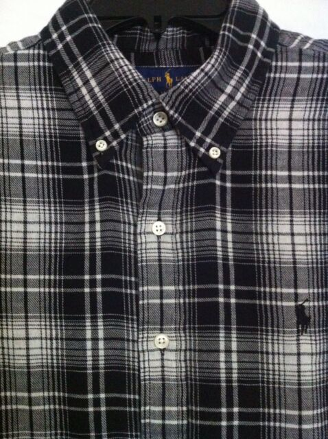 Polo Ralph Lauren Black&white Plaid Mens Sz L Buttondown Flannel ...