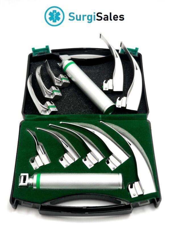 FIBER OPTIC Laryngoscope Mac Set of 5 BLADE & HANDLES FIBEROPTIC GERMAN