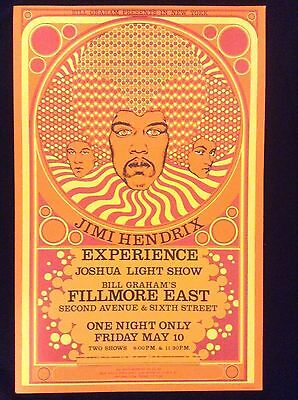 JIMI HENDRIX EXPERIENCE FILLMORE CONCERT POSTER 3rd PRESSING MINT CONDITION