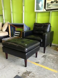 Black Leather Chair and Ottoman at HFH ReStore