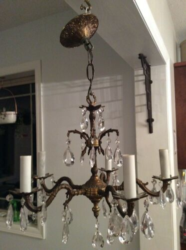 Beautiful Antique Art Deco Brass 5 Arm Chandelier Ceiling Light Fixture 35 Prism