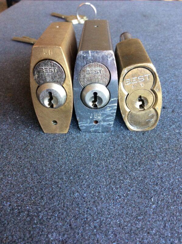 Lot of 3 padlocks, sfic, BEST KABA Peaks, with keys, keyed different
