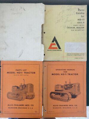 Allis Chalmers Hd-11 Tractor Operators Manual Parts Catalog List Crawler Dozer