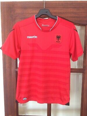 ALBANIA NATIONAL TEAM  HOME FOOTBALL SHIRT JERSEY MACRON 2016 2017 SIZE M  image