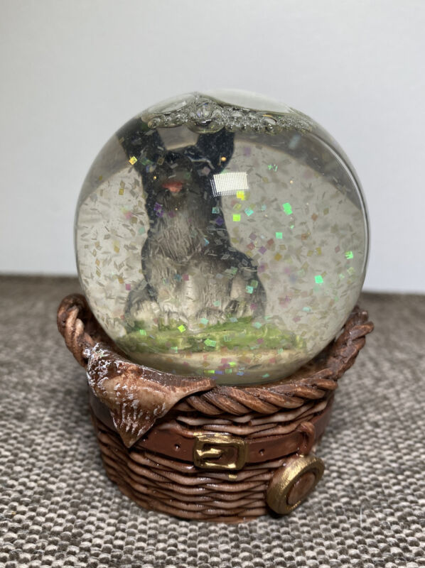"Vintage Snow Globe Porcelain Dog Basket Handled Ceramic 2.5"" Tall Retro Holiday"