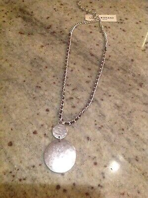 Lucky Brand Silver Tone Circle Leather Woven Pendant Necklace Woven Circle Pendant