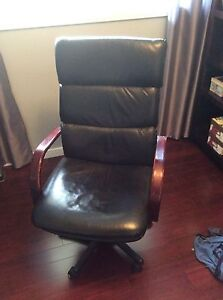 Office chair. Black leather. $60 obo   check out others pics