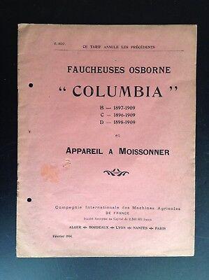 Rare ancien catalogue Faucheuse Osborne Columbia 1914 BON ETAT Machine agricole